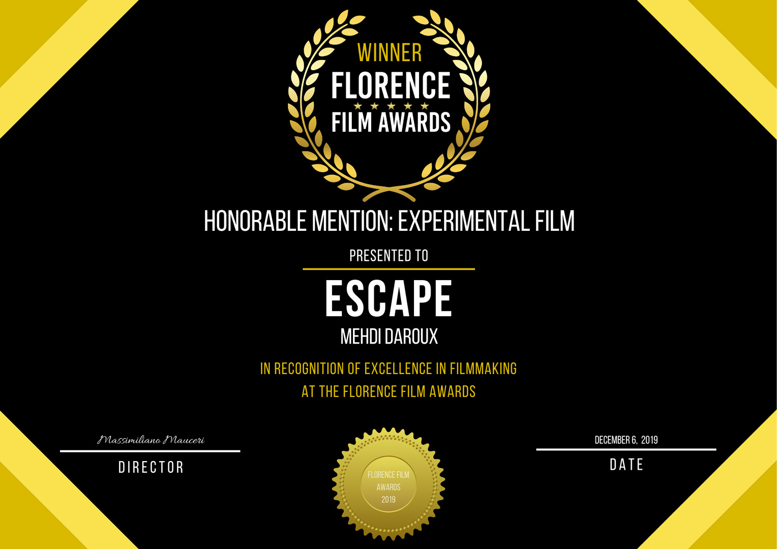 Florence Film Awards - ESCAPE