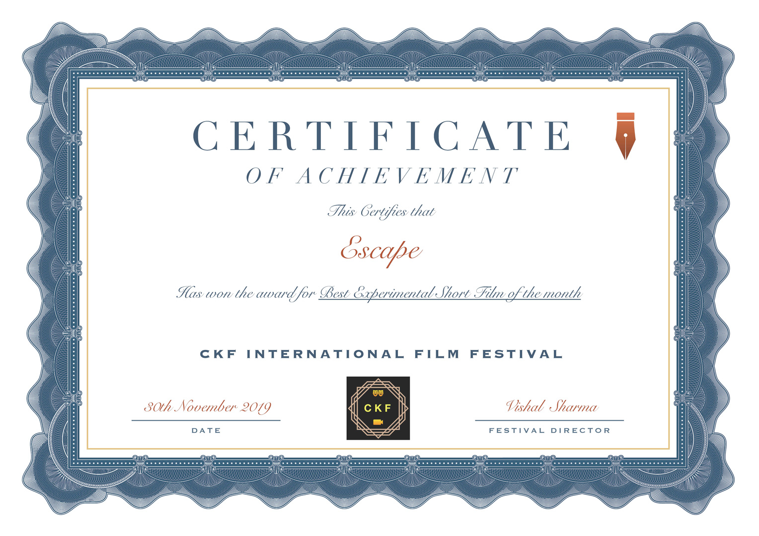 CKF INTERNATIONAL FILM FESTIVAL Best Experimental short film of the month - ESCAPE